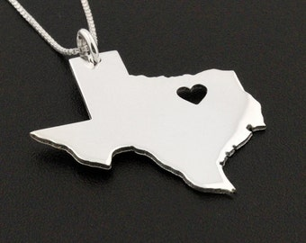 Texas necklace Personalized sterling silver Bright Satin Finish Texas state necklace with heart  Hometown Jewelry - best friend Gift