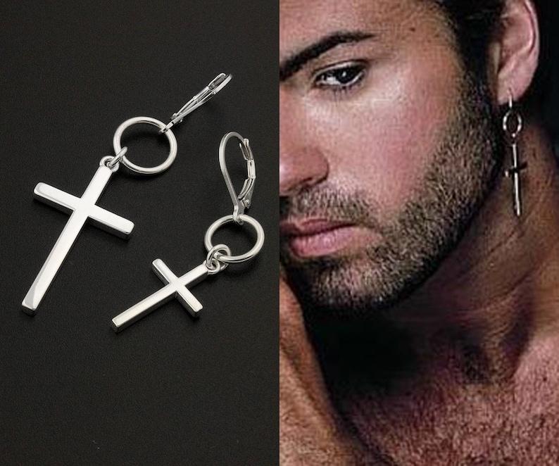 6a869f5836585 George Michael Earring Cross Earring sterling silver George Michael Hang  Hoop earring , One piece Unisex earring memorial jewelry