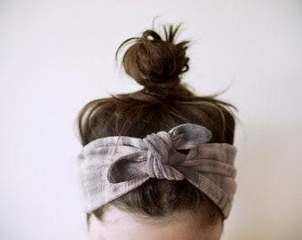 SALE cotton gauze fabric, dyed pale pink & grey headband, adjustable
