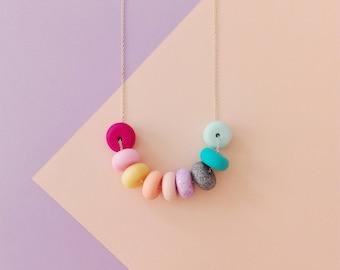 Sautoir Maxi perles multicolore / arc en ciel
