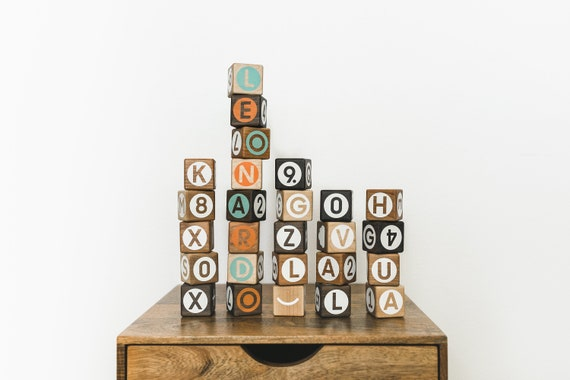26 Alphabet blocks with Numbers and Math Symbols ABC 123 Wooden Stacking Building Counting Math Baby Scandinavian Minimal Birthday gift