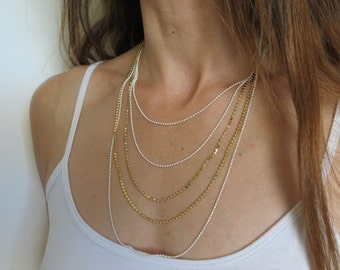Multi chain gold necklace / gold layered necklace / gold layering jewelry / birthday gift for her