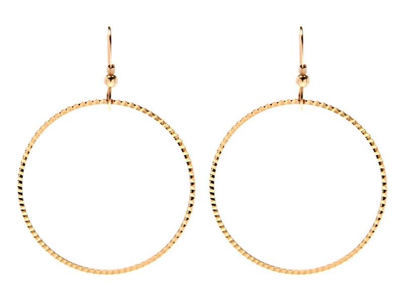 Round Earrings Gold 14k Hoop Earrings