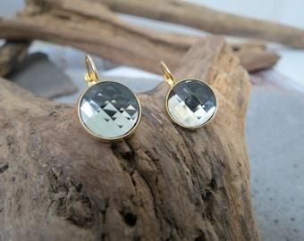 Gold earrings, swarovski earring, crystal earrings, grey earrings, crystal swarovski earrings, gold swarovski earrings
