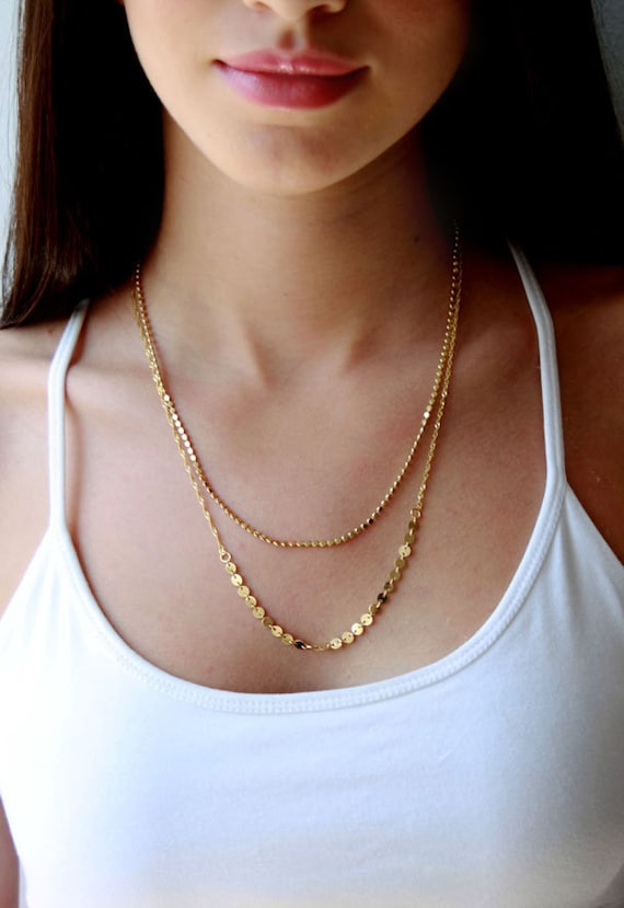 sterling silver gold filled long chain personalized Two tiles double chain engraving layered necklace slice ros\u00e9 gold filled
