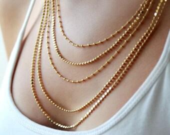 Gold multi strand necklace / Multi layer chain necklace / gold layered necklace / birthday gift for her