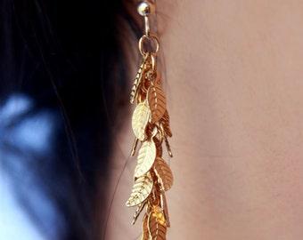 Dangle earrings ,Leaf earrings, Gold filled leaf earrings, Long earrings, Cluster earings, gold dangle earrings
