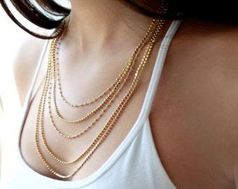Gold multi strand necklace - Multi layer chain necklace - gold layered necklace - bridal necklace - bridal jewelry