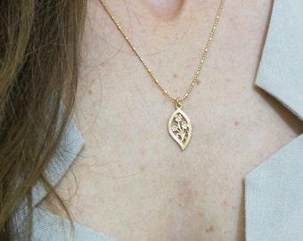 Gold necklace,14k gold filled, flowers pendant, flower necklace, delicate necklace, everyday necklace