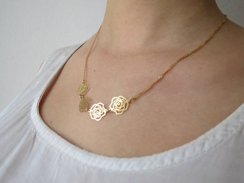 rose gold jewelry Rose gold necklace rose necklace 14k rose necklace rose gold rose necklace gold rose necklace