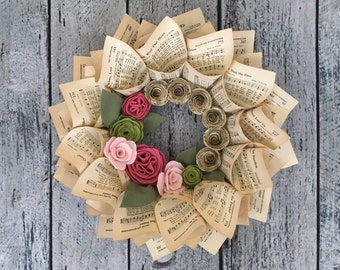 """Spring Wreath, Music Wreath, Hymnal Pages, Pink & Green Felt Flowers with Music Paper Flowers, 15"""""""