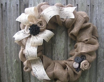 """Shabby Cottage Chic Burlap Wreath with Paris Ribbon and Skeleton Key, 18"""" or 22"""""""