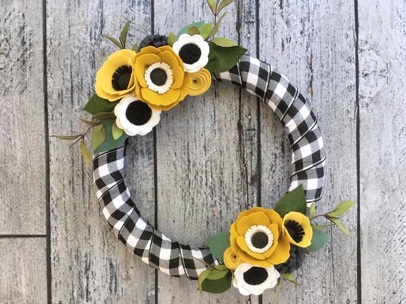 Fall Wreath Felt Flower Fall Wreath Black   White Buffalo  9044e669e
