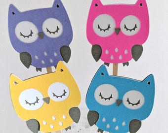 12  Pink Owl Cupcake Toppers / Owl Birthday Toppers / Owl Baby Shower Ideas / Owl Cake Topper / Pink Owl Picks / Teal Owl Toppers / Owl Baby
