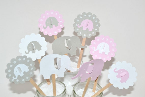 Elephant Baby Shower Decorations 12 Pink Elephant Cupcake Toppers Pink Gray Elephant Baby Shower Elephant Cake Toppers
