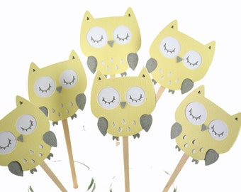 12 Yellow Owl Baby Shower Cupcake Toppers / Owl Birthday / Owl Cake Toppers / Owl Centerpiece / Owl Baby Shower Decorations