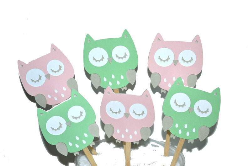 BIRTHDAY CUPCAKE PICKS OWL UNIQUE PERSONALIZED OWL CUPCAKE TOPPERS BABY SHOWER