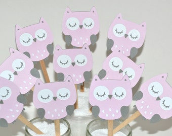 12 Pink Owl Cupcake Toppers / Owl Birthday Toppers / Owl Baby Shower / Owl Birthday Invitation / I am One / Girl Baby Shower Ideas