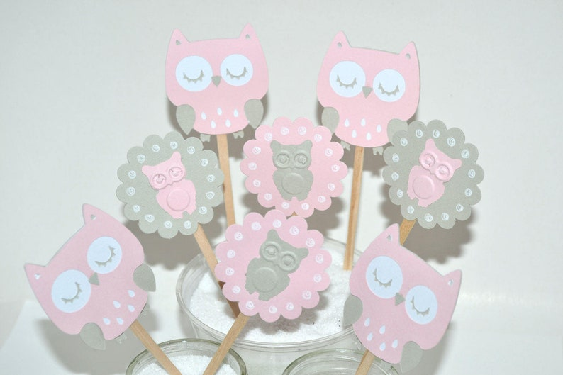 12 Pink Owl Cupcake Toppers Party Picks Girl