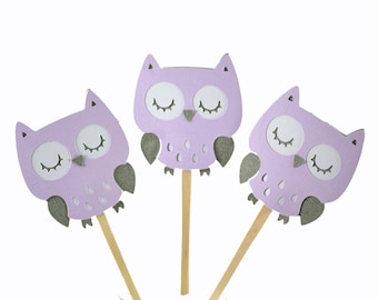 12 Purple Owl Cupcake Toppers / Grey Owl Baby Shower / Owl Birthday Party Ideas / Owl Invitation / Baby Shower Decor / Lavender Owl Toppers