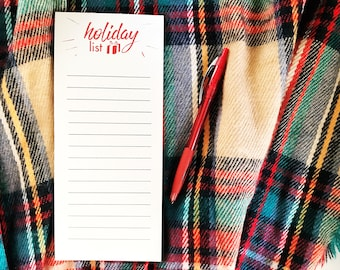 Holiday Lists magnetic notepad