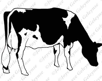 Digi Stamp, Hand Drawn Clip Art, Holstein Cow, Original Freehand Drawing,  Jpg And Png Files, Commercial Use, INSTANT DOWNLOAD