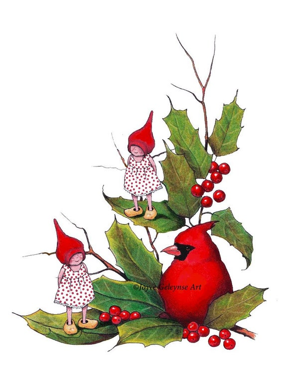 foto de Items similar to Christmas Clipart Gnomes with Cardinal