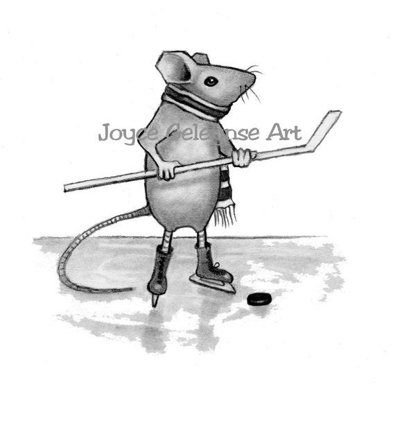 Ratón jugando al Hockey: Dibujo a lápiz deportes palillo | Etsy
