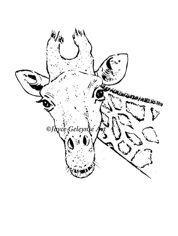 Hand Drawn Digital Stamp Giraffe Whimsical Clipart Ready To