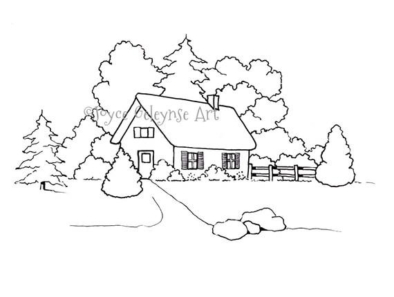 Página para colorear de dibujado a mano, para colorear para adultos, casa pequeña o cabaña con árboles, jpg, png los archivos incluidos, uso ...