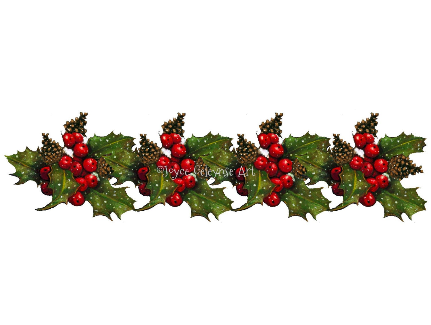 Christmas Clipart Row of Holly with Berries and Pine Cones ...