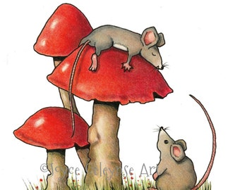 Sleeping Mouse, Hand Drawn Clipart, Mice and Toadstools, Two Cute Mice, Commercial Use,  Hand Colored Clip Art, INSTANT DOWNLOAD
