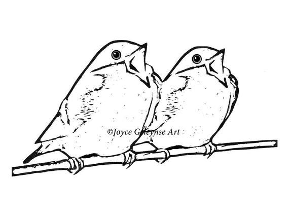 Timbre Numerique Clip Art Chant Des Oiseaux Sur Une Branche Etsy