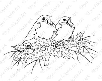 Digital Stamp Clip Art, Christmas, Singing Birds and Holly, Outline Drawing, You Color Original  Art, jpg and png files, INSTANT DOWNLOAD