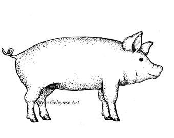 Digital Stamp, Pig, Farm Animal, Pig Outline Art, Commercial Use, Freehand Outline Art, Instant Download