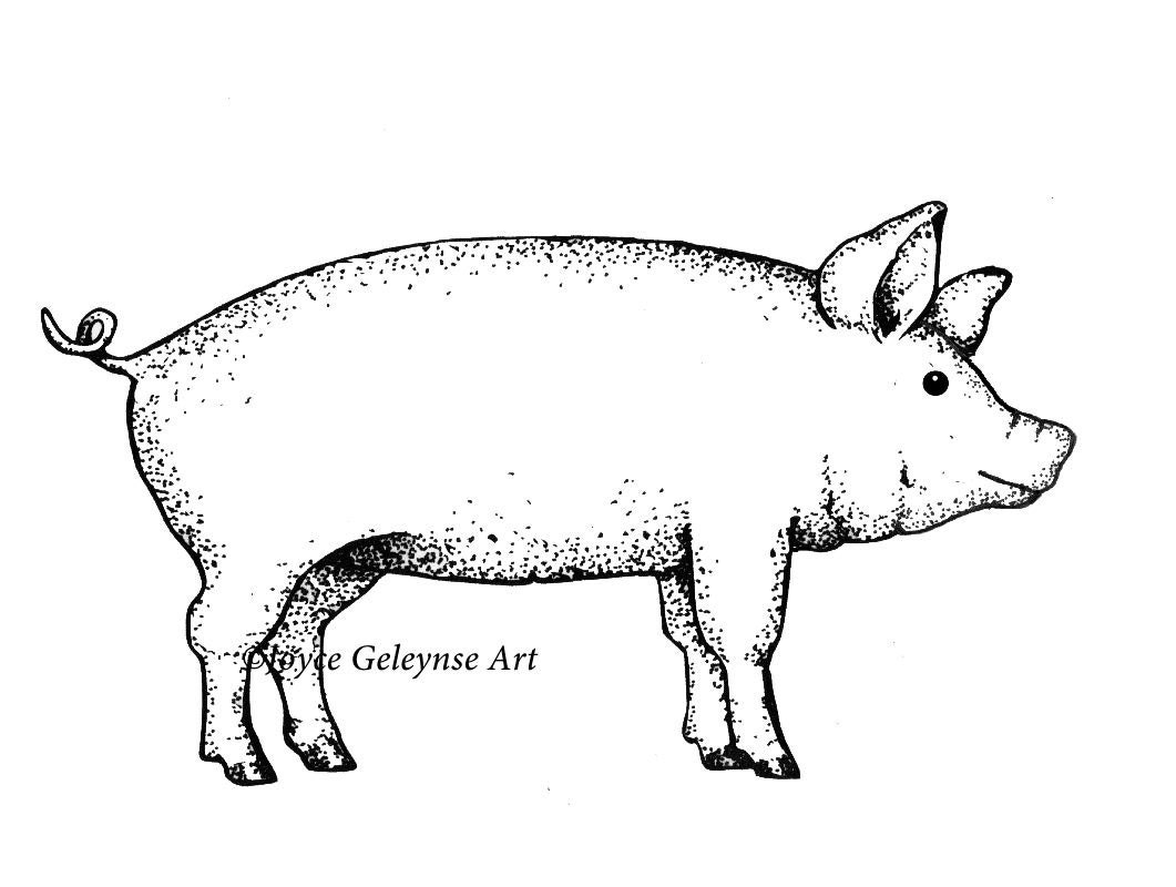 Digital Stamp Pig Farm Animal Outline Art Commercial