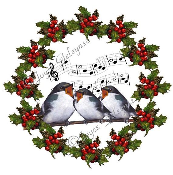 christmas clipart holly wreath with singing birds musical rh etsy com
