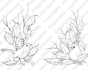 Digital Stamps, Christmas, English Robin, Cardinal with Holly, Berries, Twigs, Hand Drawn, Commercial Use Stamps, Instant Download