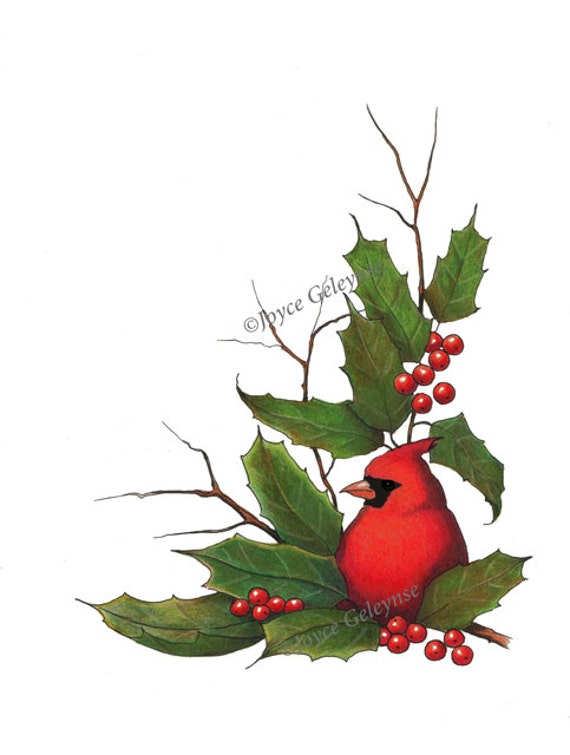 Clip Art Christmas Border With Cardinal Bird And Holly Instant Etsy