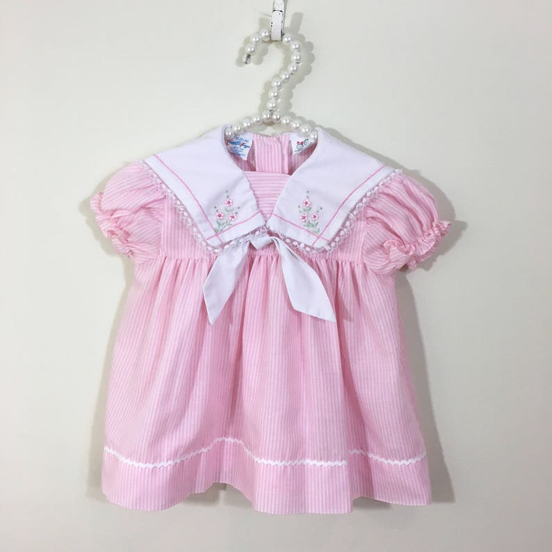 80s Pink and White Striped Sailor Collar Floral Embroidered A Line Dress, Size 3 to 6 months