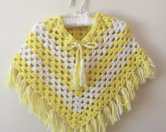 70s Yellow and White Crochet Fringed Poncho, Girls Size 3T to 5T