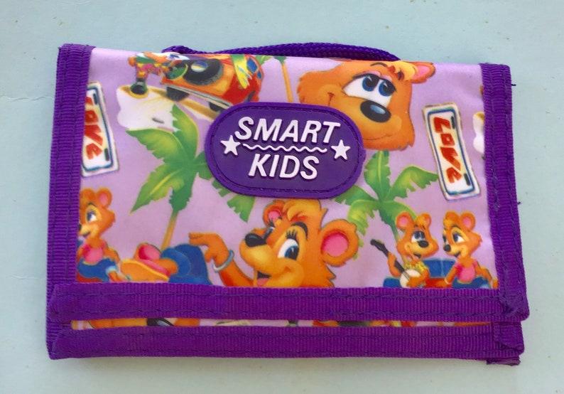 Smart Kids Zipper Pouch Kids Coin Purse 1980s Purple Wallet Vintage Kids Purse Portable Change Purse for Children Strapped Coin Purse