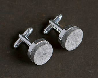 1st Anniversary Gift for Husband, Recycled Paper Cufflinks with Custom Engraving