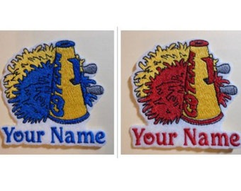 Cheerleader Pom Poms Megaphone Embroidered Add Your Name Iron-On Or Sew Sticker White Felt Patch
