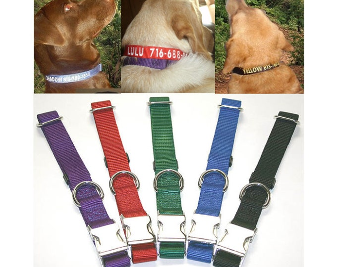 Personalized Embroidered ALL METAL Kwik Klip Collar Adjustable Dog Collars ID - OmniPet Brand - 5 Colors & 2 Sizes To Choose From