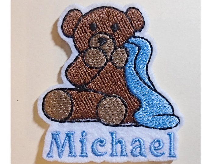 Teddy Bear With Blanket Embroidered Add Your Name Iron-On Or Sew Sticker White Felt Patch