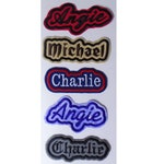 "Custom Embroidered Name Patch With Outline Border Iron-On or You Can Sew Patches - Choose From 3"" - 13"" long - 30 Different Fabric Colors"