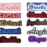 Custom Embroidered Name Tag Text ID Felt Iron On Patches - Choose From 24 Fabric Colors - 8 Patch Sizes - 16 Fonts