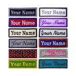 Customize Embroidered Name ID Rectangle Applique Iron On Patches Personalized - Choose From 30 Fabric Colors - 9 Patch Sizes - 16 Fonts