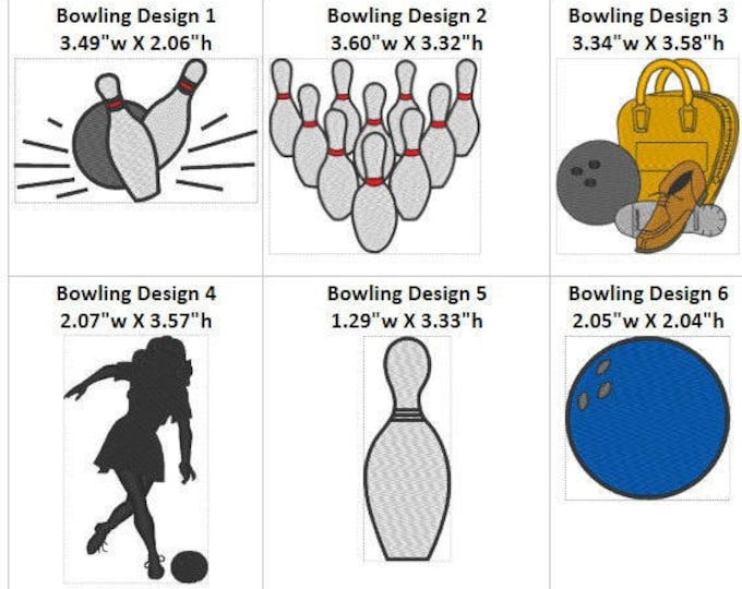 7 BOWLING Embroidery Digitized Machine Designs Downloads